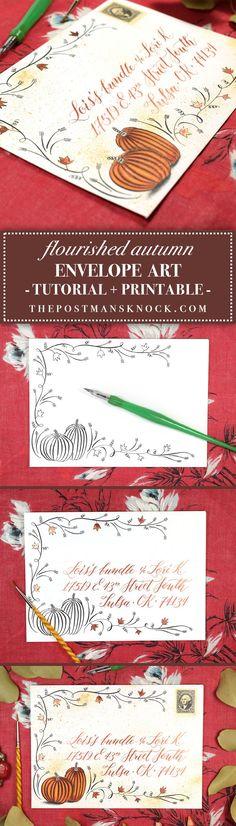 Flourished Autumn Envelope Art Tutorial – The Postman's Knock - İnvitation Envelope Mail Art Envelopes, Addressing Envelopes, Invitation Envelopes, Letter Addressing, Envelope Lettering, Calligraphy Envelope, Calligraphy Markers, Calligraphy Fonts, Script Fonts