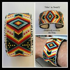 """New from TrinityDJ - """"Ethnic"""" - gorgeously stitched by Susan Kirby - Beaded strips for metal bracelet blanks. We are working on various new designs in this new line. I am open for ideas - what would be a design you would like to see on a metal blank - for a cuff. Lovely work, Susan Kirby, as always."""
