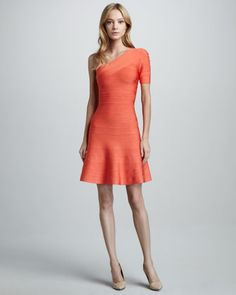 One-Shoulder A-Line Bandage Dress by Herve Leger at Neiman Marcus.  This dress is stunning.