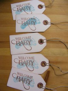 Welcome Baby Shower Tag Vintage
