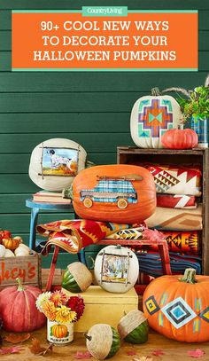 Save these Halloween pumpkins for later by pinning this image! Follow Country Living on Pinterest for more great Halloween ideas.