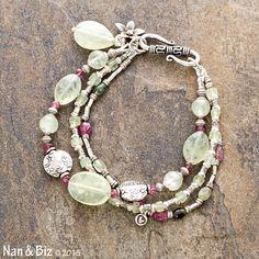 Tourmaline and prehnite bracelet, pink and green beaded bracelet, Karen Hill Tribe silver charms, beads, multi-strand stackable bracelet