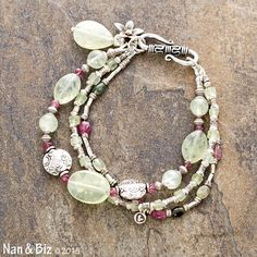 Tourmaline and prehnite bracelet, pink and green beaded bracelet, Karen Hill Tribe silver charms, beads, multi-strand stackable bracelet