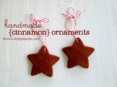 Handmade Cinnamon Ornaments - Fill your house with a delightful Christmas smell. Such a simple Christmas craft - the kids will love making their own Christmas ornaments.