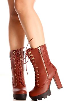 Wine faux leather lace design side zipper chunky high heel boots #highheelboots #chunkyheel