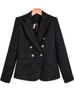 Black Lapel Long Sleeve Crop Fitted Blazer 35.67
