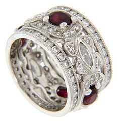 Platinum, Diamond And Ruby Vintage Wedding Band