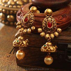 Big Gold Earrings, Big Gold Antique Earrings Designs, 22K Gold Antique Earrings.