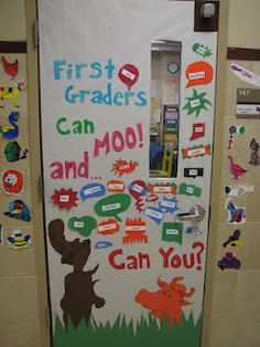 Dr. Seuss door.  We used onomatopoeia words modeled after Mr. Brown Can Moo Can You?