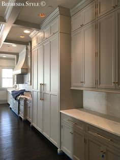 #BethesdaStyle ~ #Lobkovich Grey Kitchen Cabinets ~ White Marble ~ Unlacquered Brass Hardware ~ the Cabinets by Lobkovich Inc. Kitchen Designs www.Lobkovich.com