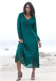Plus Size Acid Wash Empire Waist Dress image