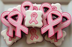 Pink Ribbon Cookies by SugaredHeartsBakery on Etsy