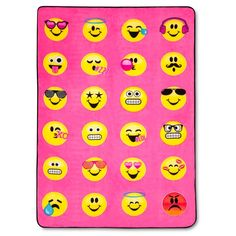 EmojiNation Emotions Emoji Pink Bed Blanket (Twin)