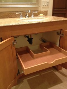 No wasted space! Custom sliding drawer under the bathroom sink. Very clever! - #Bathroom #bathroomsinks #Clever #Custom #DRAWER #Sink #Sliding #space #wasted