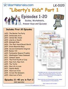 A Liberty Kids Worksheet, Answer Sheet, and Quizzes | Teachers Pay Teachers $19.99