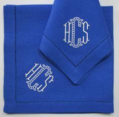 "Sferra Festival hemstitch dinner napkins 20 x 20 with ""Lexy"" monogram in white and powder blue"