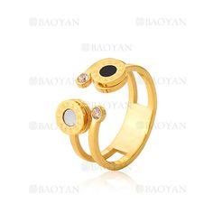 anillo con numero romano de moda en acero de dorado-SSRGG802000