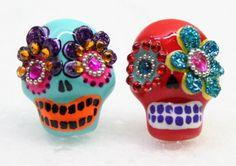 Skull day of the dead earrings