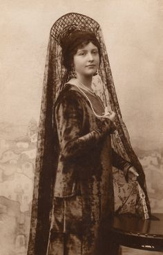 The Vintage Prophecy Postcards… 1910s Spanish Rich Lady Elegant Studio Portrait in Velvet Dress and Lace Mantilla (Rare RPPC from Sevilla)