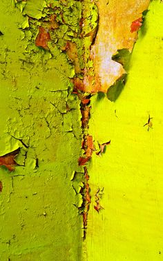 Peeling Paint neon chartreuse - colour, texture & surface pattern detail // Beauty in Decay