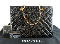 Shop for excellent (EX Black Patent Leather GST Grand Shopper Tote Bag by Chanel at ShopStyle. Chanel Luggage, Shopper Tote, Tote Bag, Chanel Jumbo, Chanel Black, Black Patent Leather, Chanel Boy Bag, Gold Chains, Pouch
