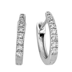 f4952e66c Huggie Style White Gold Diamond Hoop Earrings in 10k White Gold with 1/5  Carats