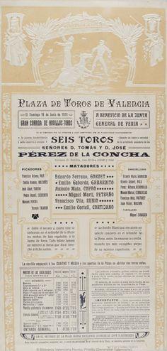 Anónimo. (S. XX)   Plaza de Toros de Valencia [Material gráfico] : El Domingo 18 de Junio de 1911 ... : Gran corrida de novillos-toros ... — [S.l. : s.n., 1911?] (Valencia : Imp. y Lit. J. Ortega)  1 lám. (cartel) : col. ; 44 x 21 cm