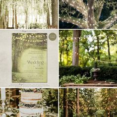 Enchanted Forest Wedding Theme, Rustic Trees String Lights Wedding Theme Moodboard Inspiration #wedding #weddinginspiration #weddinginvitations