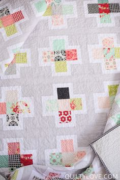 Quilty Love | Handmade fabric Plus Squared Quilt | http://www.quiltylove.com Modern plus quilt pattern.