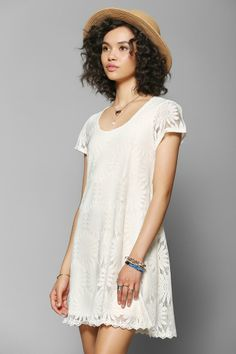 Kimchi Blue Knit Floral Lace Trapeze Dress - Urban Outfitters