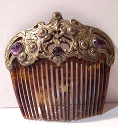 antique nouveau jeweled hair comb ornament embossed brass amethyst gems large | eBay