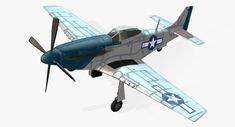 3d aircraft p-51d mustang real-time model
