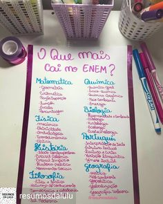 Reposted from - Cedo ainda pra falar de ENEM? Mental Map, Study Organization, Study Techniques, Bullet Journal School, School Study Tips, Study Planner, Lettering Tutorial, Study Hard, School Notes