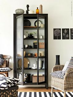 black glass door cabinet, Hemnes, from IKEA. Need this for my walk in closet.