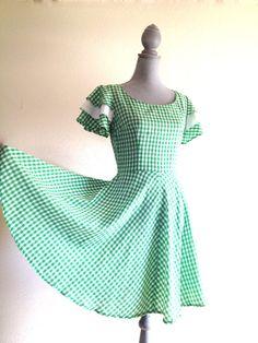 Hillbilly Honkeytonk Gingham Green and White by VintageMindedMaven, $46.00