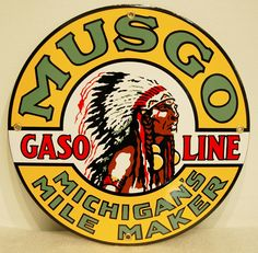 This Musgo Gasoline Michigan's Mile Marker sign will look great in your garage or mancave! www.gaspumpheaven.com