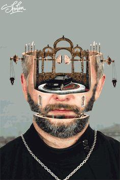 Des têtes mécaniques surréalistes portrait gif surrealiste 08 Milos Rajkovic