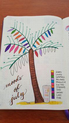 Palm tree mood tracker + July + summer + bullet journal