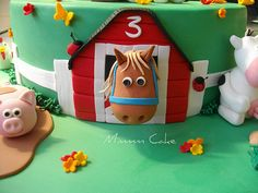 """Gorgeous little Indy had her 3rd Birthday today. Party was a Barnyard theme - complete with real baby farm animals!! Cows are inspired from Kylie (from Lecupcake -Im sure she did them first!!) and sheep kinda done like the ones in Lorraines tutorial - thanks guys!!!  10"""" Choc Mud cake filled and coated in Choc Ganache. All decoration/figurines hand modeled in fondant."""