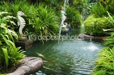 Tropical zen garden with fountains