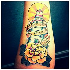 My lighthouse tattoo of the Marblehead lighthouse in Ohio. It's a memorial piece for my grandmother.