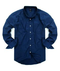 This Dark Blue  Printed Slim-Fit Button-Up is perfect! #zulilyfinds