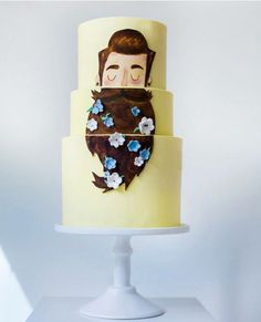 By @sweetbakes_ on Instagram , beard cake, yellow, flowers, beard, sweet
