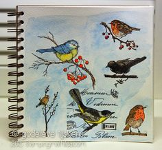 I noticed that I have several birds on branches stamps. Here are some of them in my...
