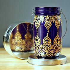 Orientalische Lampen laterne henna gold