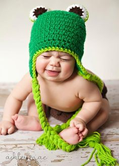 LOL, what a cute picture! Crochet Frog Hat pattern $3.99