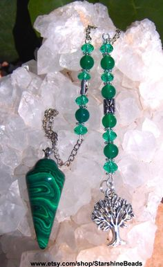 Malachite & Green Onyx Tree of Life Pendulum  by StarshineBeads