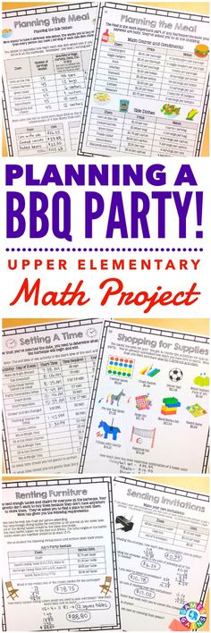 """Absolutely Fabulous!   These type of projects entertain my students while reinforcing the skills they learned during the year."" This Planning a BBQ Party Math Project gets students practicing a variety of key math skills while working their way through a fun real-world scenario. Students will have a blast planning all of the details of their family's BBQ party. They must choose a date and time, make invitations, rent furniture, plan and shop for the meal, and a whole lot more!"