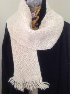 Luxe British Alpaca hand woven scarf cream. by SeedStitchfelted
