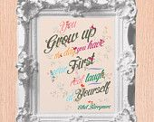 SALE Ethel Barrymore Quote Art Print - 11X14 - Hand Painted Florals - No. Q005-11X14 - First Real Laugh At Yourself